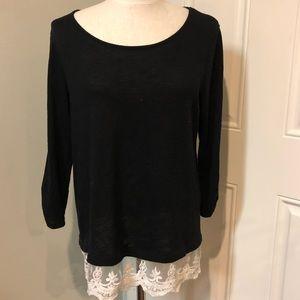 Black white floral lace hem sweater